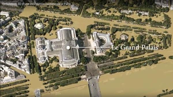 symulacja powodzi w Paryżu