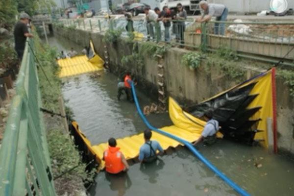 Instalacja Water-Gate © w kanale z dwiema koferdamami od głowy do ogona. Suszenie sekcji pośredniej pompowaniem Grundfos.