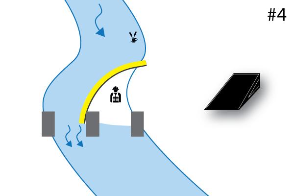 Elastyczne koferdamy Water-Gate ©. Schemat instalacji w kształcie litery L wspartej na filarze mostu. Przypadek 4