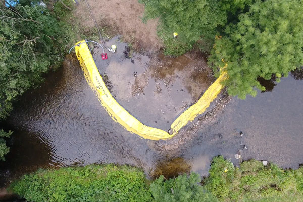 Widok z góry. Instalacja Water-Gate© w U | Instalacja na rzece równoległej do nurtu.