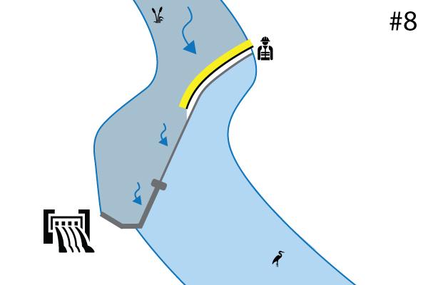 Elastyczne grodzice Water-Gate ©. Schemat instalacji na progu rzeki | Przelew. Przypadek 7