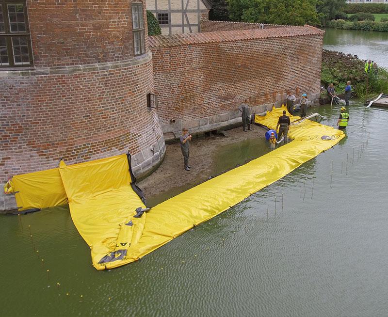 Grodza w kształcie litery U - Zamek Frederiksbord - Odwodnienie terenu budowy - Fosa - Pierwszy Kanał